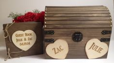 Large Rustic Wedding Card Box & Guest Book Set  by TheSmilinBride, $110.00
