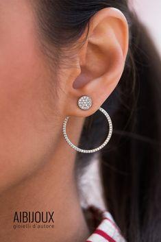 Kurshuni Hoop Earrings in argento 925 e zirconi Diamond Earrings, Hoop Earrings, Jewelry, Jewlery, Bijoux, Jewerly, Jewelery, Diamond Stud Earrings, Circle Earrings