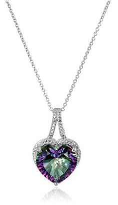Best 10 Valentine Gifts for her 2017- Sterling Silver Mystic Fire Topaz with Diamond Accent Heart Pendant Necklace, 18″