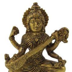 Saraswati Statue Hindu Goddess Brass 6.99 cm x 9.53 cm x 3.81 cm