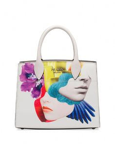 87ceb71402 Prada printed saffiano leather satchel bag with pleated sides.