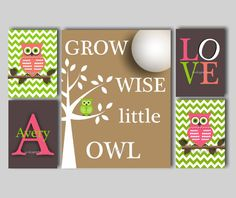 This woodland owl print collection features an 11 x 14 print of an owl in a tree with the quote, Grow Wise Little Owl, accompanied by four 5 x 7