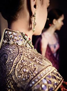 Editorial from Vogue India, detail is exquisite in this pastel purple blouse adorned with gems