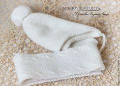 Купить Комплект для малыша (шапочка и шарф) - белый, шапка, шарф, шапка для мальчика, шапка для девочки