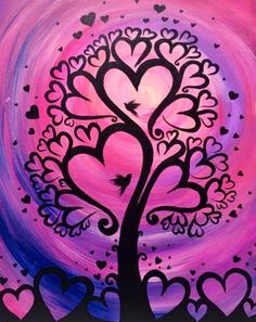 Heart tree painting as cute as can be!