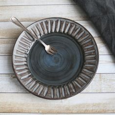 Rustic Black and Gray Side Plate with Carved Rim by AndoverPottery