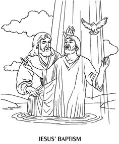 Jesus baptism Pictures, Wallpapers and Coloring pages Jesus Coloring Pages, Coloring For Kids, Coloring Pages For Kids, Coloring Sheets, Adult Coloring, Coloring Books, Baptism Pictures, Christmas Bible Verses, Sunday School Coloring Pages