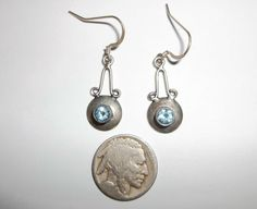 Artisan Handcrafted Sterling Silver Blue Topaz Dangle Earrings Made in USA #Handmade #DropDangle