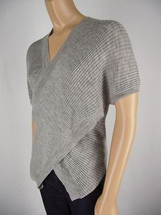 LOVE!! BCBG MAXAZRIA Gray 100% Merino Knit Ribbed Sweater M Cross Over Swag Front Light