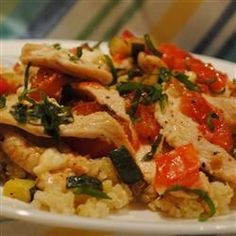 Chicken with Quinoa and Veggies -used 2tsp dried basil added 2 cloves minced garlic, no onions, added 1tbs butter