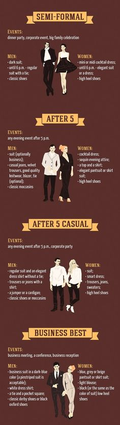 Infographic: Basic Dress Code Rules For Special Events - DesignTAXI.com