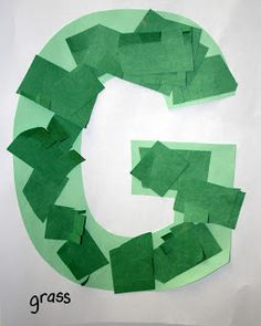 Letter G is for Grass.  Letter of the week activity for preschoolers and toddlers.  Good cutting and pasting practice.  #alphabet ABCs