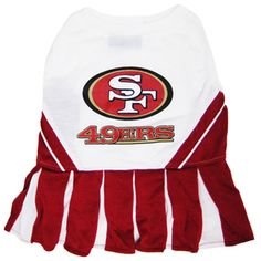 San Francisco 49ers Cheerleader Dog Dress $23.95 http://www.doggieclothesline.com/nfl-dog-clothes/san-francisco-49ers