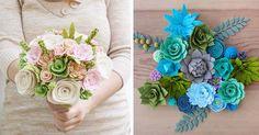 Deidre Kindall objavila na materskej dovolenke lásku k handmade tvorbe. Pozrite aké nádherné kytice z filcu vyrába! Svadobná kytica z filcu, plste, nápad
