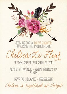 boho baby shower invitation rustic floral by prettyinvitingprints, Baby shower invitations