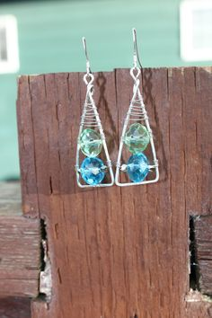 Wrapped Sterling Silver and Crystal Triangle Earrings, by Cindy Larson Accessories