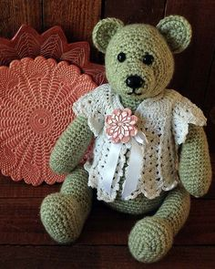 """Original Design By: Maggie WeldonSkill Level: EasySize: About 15"""" high (11"""" when sitting)Materials: Teddy Bear - Worsted Weight Yarn :Sea Green – 18oz, 870yds"""