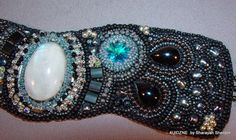 Once in a Blue Moon  Bead Embroidered Cuff  Bracelet by 4uidzne, $75.00
