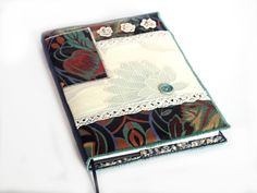 Notebook, Sketchbook, Journal, Diary Cover, A5, Fabric Collage and Vintage Lace, Handmade