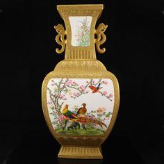 Chinese Gold Plated Famille Rose Porcelain Big Vase