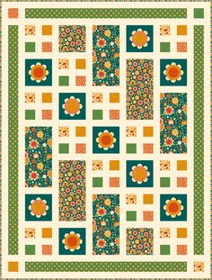 Lily's Garden Spice Quilt Kit by RJR Fabrics -  I like this pattern for large scale prints