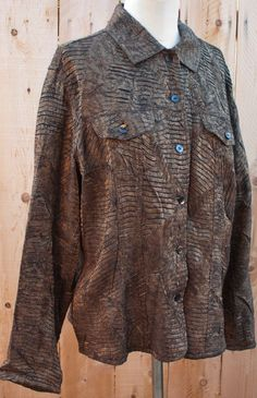 Chico's 2 Light Weight Brown Copper Jacket Crinkle Leaf 77% Rayon 23% Poly #Chicos #BasicJacket