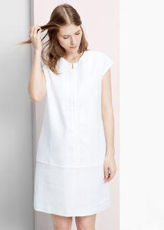 Robeblanche droite en lin zippé Violeta - ClicknDress