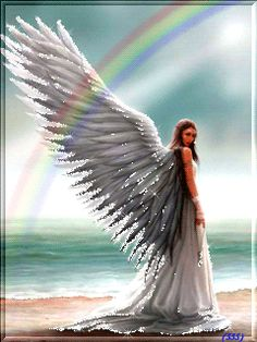 Angel Gif White Wings Angel With Wings that move rainbow in sky Gif Angel Images, Angel Pictures, Angel Readings, Angel Drawing, Native American Pictures, Angel Warrior, I Believe In Angels, Angel Prayers, Angels Among Us