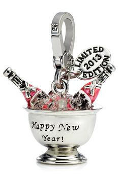 Juicy Couture 2013 Charm Limited Edition Champagne Bucket Charm New Year Silvertone