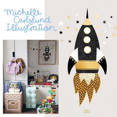 In Friedrichs Kinderzimmer wurde es glitzernd spacig. Das Gold Space Ship Poster von Michelle Carlslund ist eingezogen, eins davon könnt IHR heute gewinnen! | Pinspiration