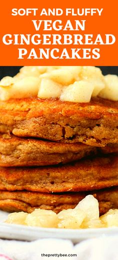 I like to change up my pancake routine in the cold weather! These gingerbread pancakes are so nicely spiced with ginger and cinnamon. No eggs needed! Vegan Banana Pancakes, Vegan Pancake Recipes, Gingerbread Pancakes, Vegan Gingerbread, Free Breakfast, Breakfast Recipes, Types Of Pancakes, Pear Sauce, Ginger And Cinnamon