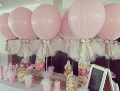 Hessian and lace on our signature tulle balloons for a little girls christening…