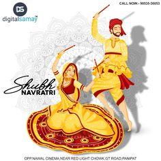 Illustration of couple in dandiya dance pose on white mandala floral background. Dance Paintings, Indian Art Paintings, Watercolor Paintings, Navratri Images, Durga Images, Happy Navratri, Navratri Festival, Festival Flyer, Indian Folk Art