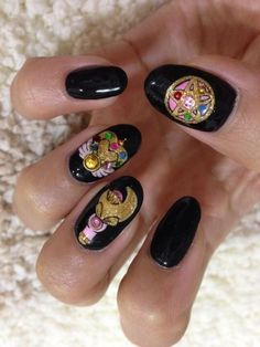 Sailor moon nails.  Look at that detail.  I guess that is either an appliqué or hand painted; either way, nice job.