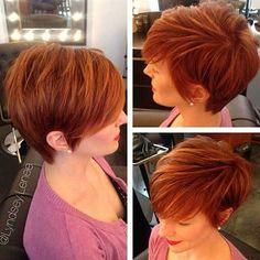 Red hair color describes your pixie haircut in a more nice way. Red color and pixie haircut always compliment each other and you can easily try it, to look. Red Hair Pixie Cut, Red Pixie Haircut, Short Pixie Haircuts, Pixie Hairstyles, Short Hair Cuts, Cool Hairstyles, 2015 Hairstyles, Haircut Bob, Blonde Hairstyles