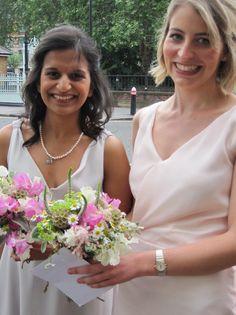 Bridesmaids outside St Bartholomew, London