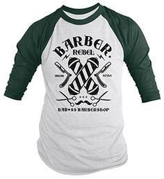 Shirts By Sarah Men's Barber Shirt Bad*ss Barbershop Fresh Style Rebel T-Shirt Barber Clothing, Barber Trimmers, Barber Accessories, Barber Shop Haircuts, Barber Gifts, Barbershop Design, Barbershop Ideas, Barber Logo, Best Barber