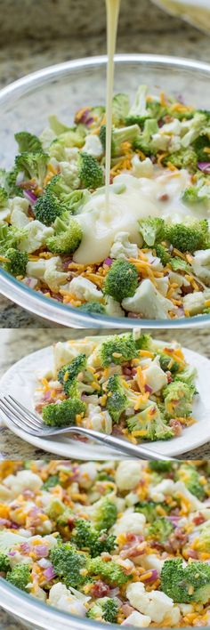 Broccoli Salad with Bacon and Cheese, aka Piggly Wiggly Salad, is a party and potluck favorite from the Midwest topped with a creamy, tangy dressing.