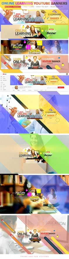 Online Learning YouTube Banner Templates PSD - Online Learning YouTube Banners will make it easy for you to create your own awesome-looking banners in just a few minutes. All you need to do is add your favorite images, text, and colors you like. Youtube Banner Design, Youtube Banner Template, Youtube Banners, Web Banner Design, Flyer Design, Web Design, Design Ideas, Graphic Design, Layout Design