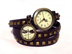 Leather watch bracelet - DRAGONFLY, 0593WDBC  from EgginEgg by DaWanda.com