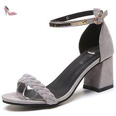 LvYuan Femme Sandales Daim Eté Marche Combinaison Gros Talon Noir Gris 7,5 à 9,5 cm , gray , us8 / eu39 / uk6 / cn39 - Chaussures lvyuan (*Partner-Link)