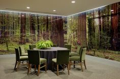 Private Dining Room with see through glass room in a 'forest' theme.  Unique space to hold an event!