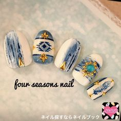 Cute Nail Art Ideas to Try - Nailschick Tribal Nails, Pointed Nails, Manicure Y Pedicure, Pedicures, Japanese Nail Art, Toe Nail Designs, Fabulous Nails, Blue Nails, Nails Inspiration