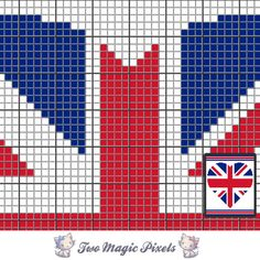 UK Heart c2c graph crochet pattern; instant PDF download; blanket, corner to