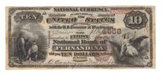 It is our pleasure to offer the latest and possibly greatest Florida national banknote discovery of the last several years. In late April of this year a fourth generation member of a Fernandina banking family found that he was in possession of one of the best Florida national banknotes out there. Upon learning of its significant value, the decision was made to auction it with us. Not counting the still uncut pair of Key West brown backs, there are just two other #1 brown backs for the state.