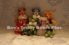 Teeny, Tiny Bears -  Group shot!  All Teddy Bears are crocheted with moveable arms and legs.  The girls's dresses are all hand made.