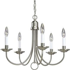 Progress Lighting P4008-09 Brushed Nickel Five-Light Single-Tier Candelabra Chandelier with Arched Tubular Arms and White Candle Covers
