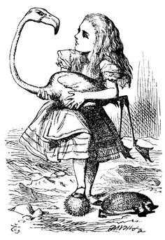 Sir John Tenniel's Classic Illustrations of Alice's Adventures in Wonderland Alice with flamingo