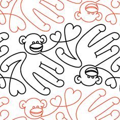 """Monkey Buisness - Paper - 9.25"""" - Quilts Complete - Continuous Line Quilting Patterns"""