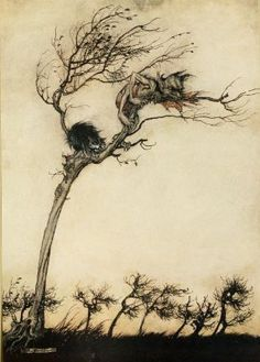Comus 1921 Clings to tree Canvas Art - Arthur Rackham x Arthur Rackham, Dark Fantasy, Fantasy Art, Harry Clarke, Edmund Dulac, Ecole Art, Children's Book Illustration, Victorian Illustration, Book Illustrations